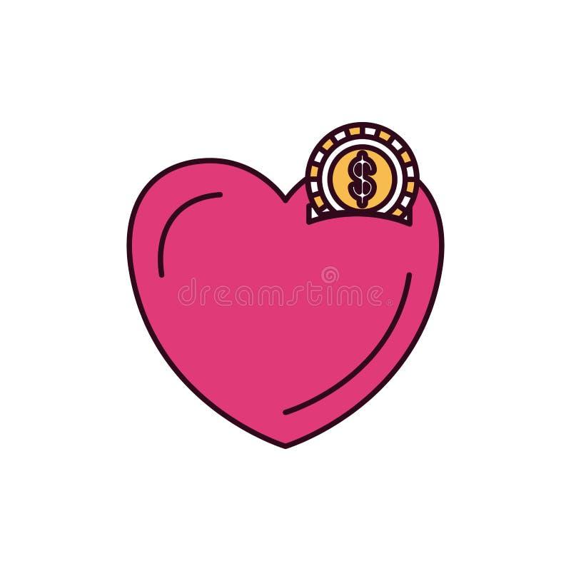 Caixa de dinheiro das seções da cor da silhueta na forma do coração com a moeda com símbolo do dólar ilustração stock