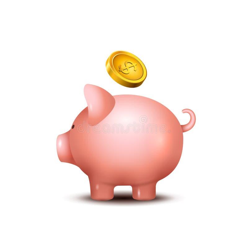 Caixa de dinheiro do porco Ícone leitão do banco das economias do dinheiro Brinquedo do porco para as moedas que salvar o conceit ilustração royalty free
