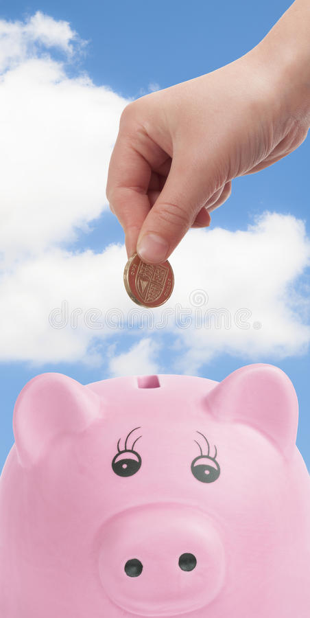 Caixa de dinheiro do porco imagem de stock