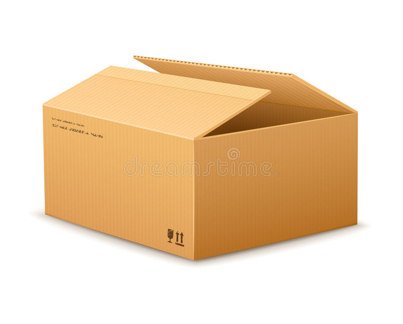 Caixa de empacotamento da entrega do cartão da abertura ilustração stock