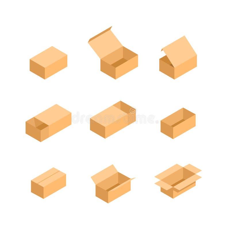 Caixa de empacotamento Imagens isométricas do grupo ilustração stock
