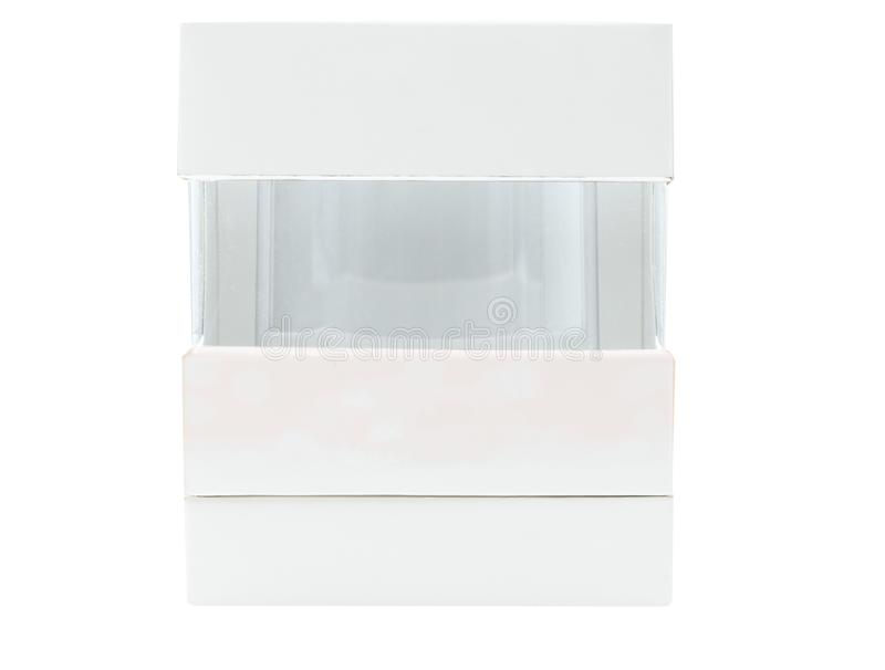 Caixa de empacotamento luxuosa para o soro dos cuidados com a pele isolado no fundo branco com etiqueta vazia imagem de stock royalty free