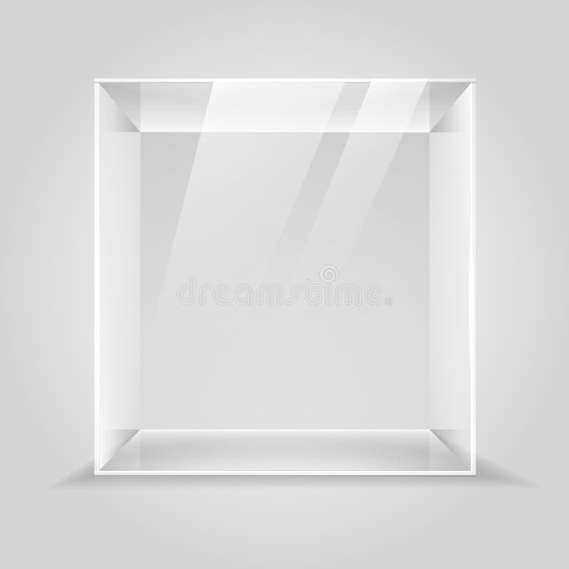 Caixa de exposição de vidro vazia ilustração stock