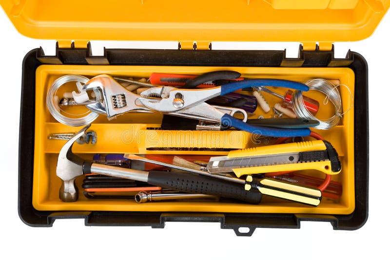Caixa de ferramentas amarela imagens de stock