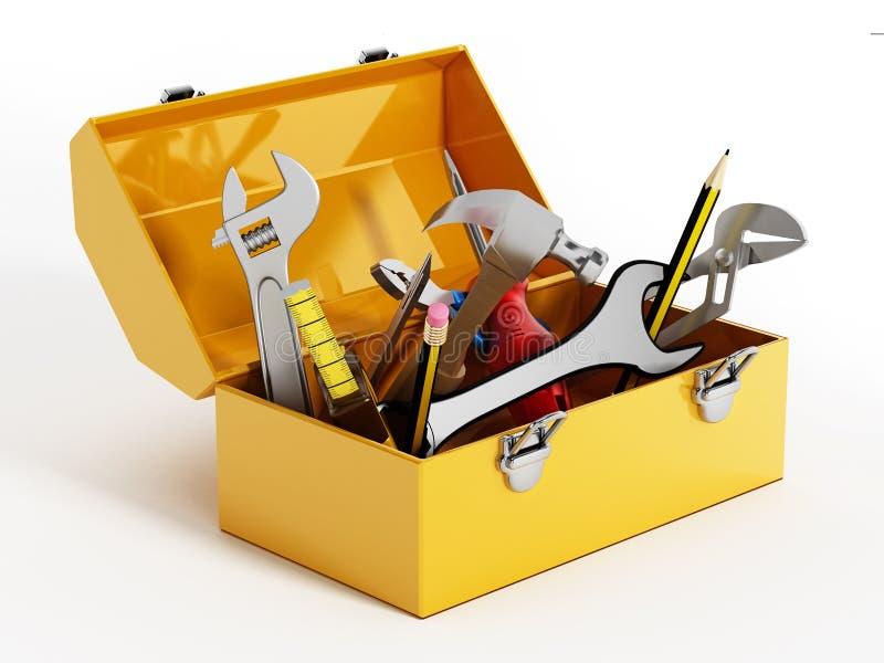 Caixa de ferramentas amarela com ferramentas da mão ilustração 3D ilustração stock