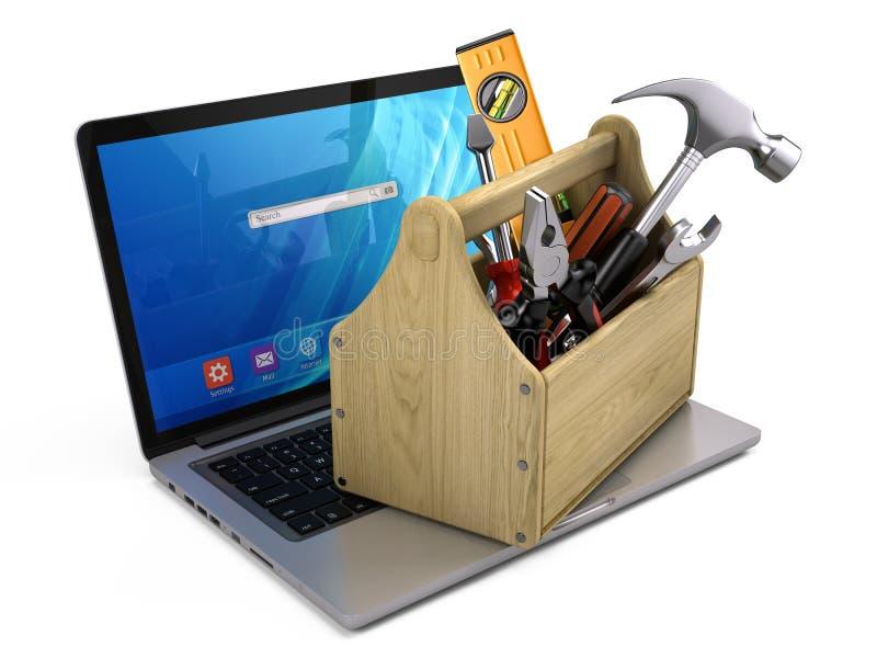 Caixa de ferramentas com as ferramentas no portátil - conceito do reparo e da recuperação ilustração do vetor