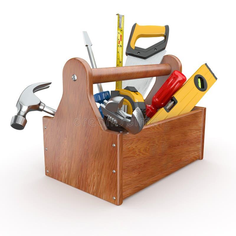 Caixa de ferramentas com ferramentas. 3d ilustração stock