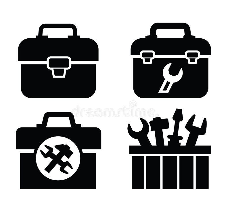 Caixa de ferramentas com ferramentas ilustração royalty free