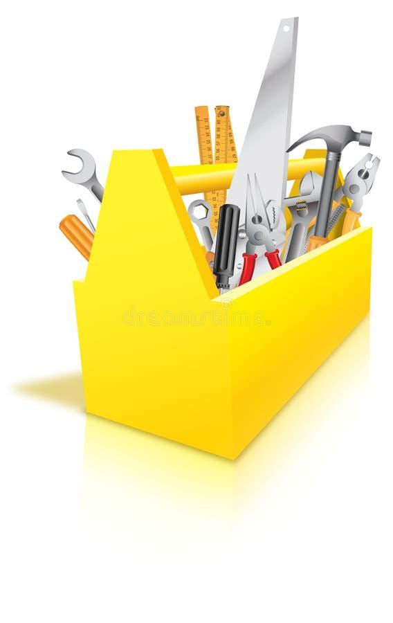 Caixa de ferramentas completamente das ferramentas ilustração royalty free