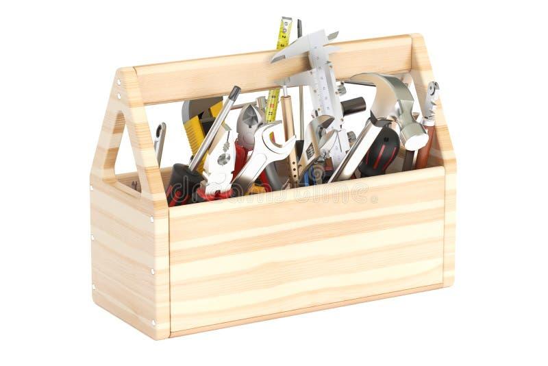caixa de ferramentas 3D de madeira com ferramentas ilustração do vetor