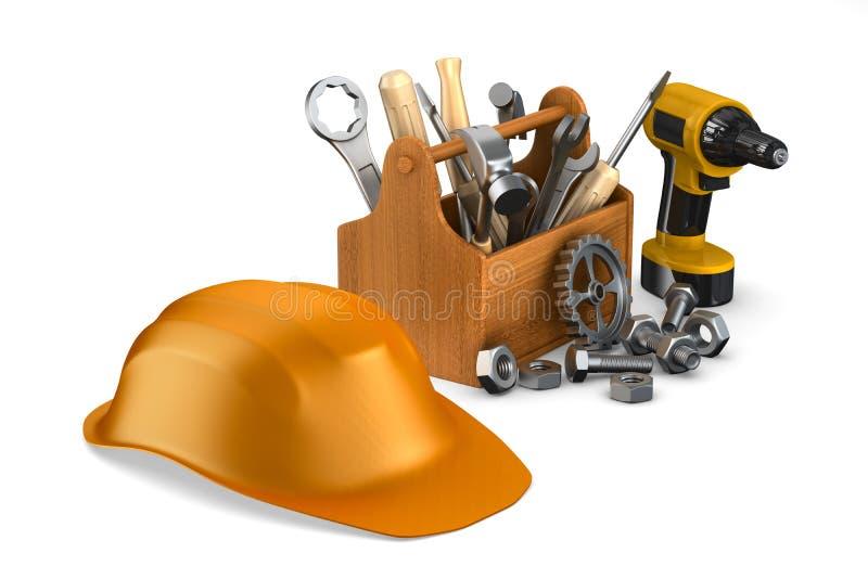 Caixa de ferramentas de madeira com ferramentas 3D isolado ilustração stock