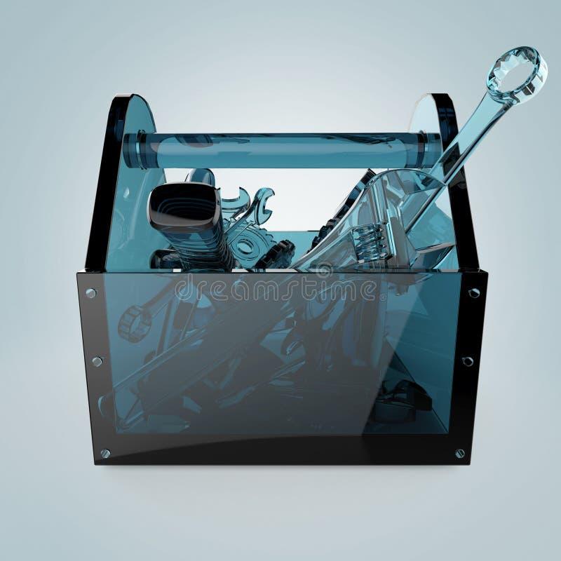 Caixa de ferramentas de vidro azul com ferramentas da safira para dentro, chave, chave inglesa, martelo, chave de fenda Rendição  ilustração royalty free