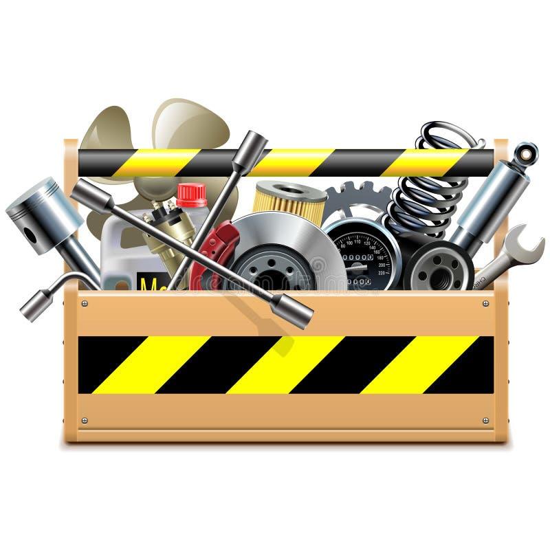 Caixa de ferramentas do vetor com sobressalentes do carro ilustração stock