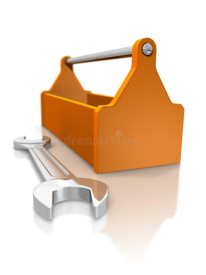 Caixa de ferramentas e chave inglesa ilustração stock