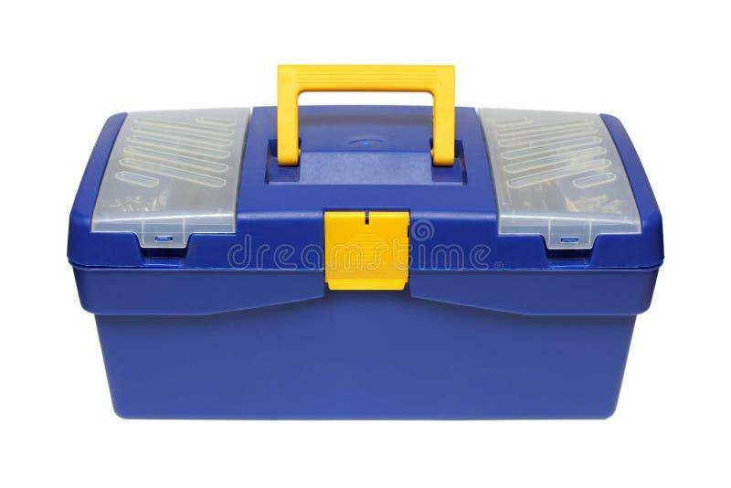 Caixa de ferramentas plástica azul fotografia de stock