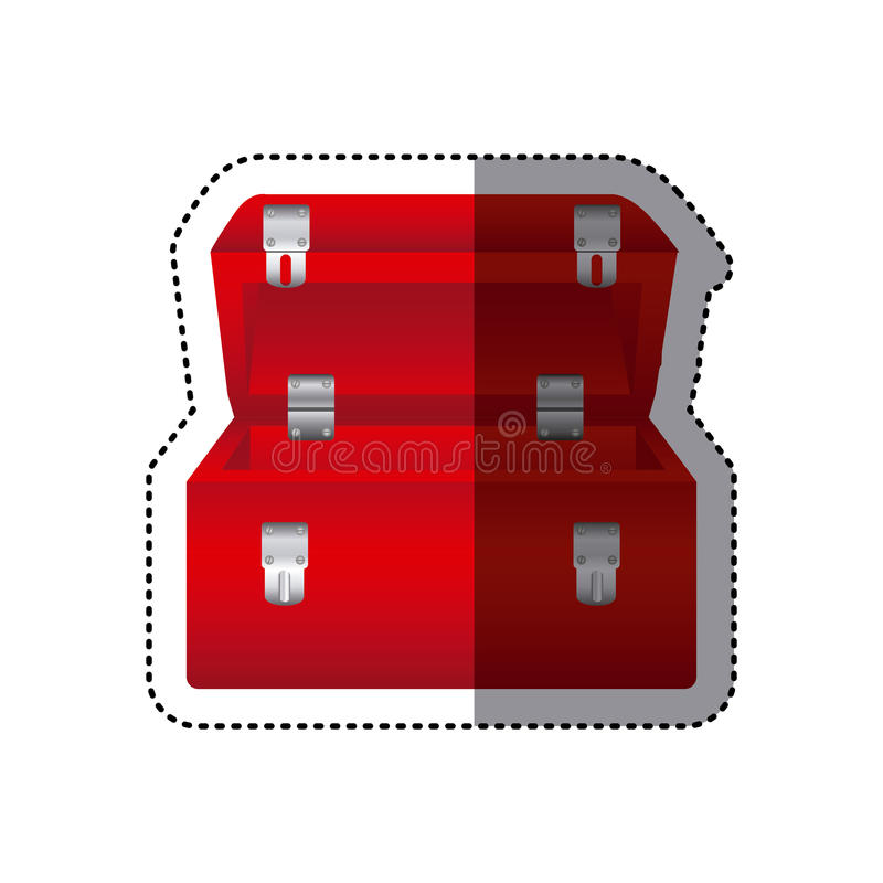caixa de ferramentas vermelha colorida da etiqueta ilustração royalty free