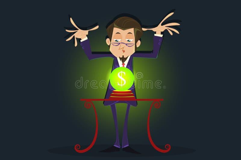 Caixa de fortuna com bola de cristal do dólar ilustração do vetor