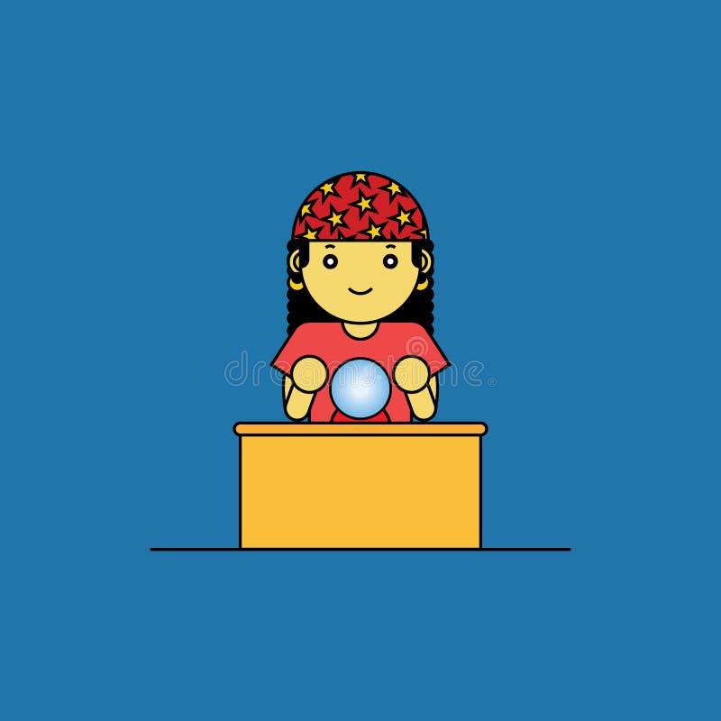Caixa de fortuna com bola de vidro ilustração royalty free