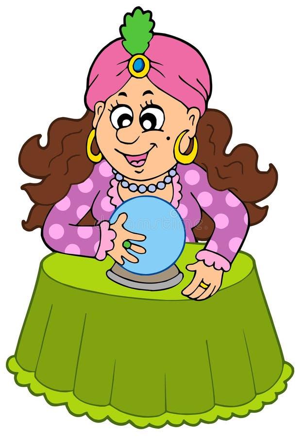 Caixa de fortuna com esfera de cristal ilustração do vetor