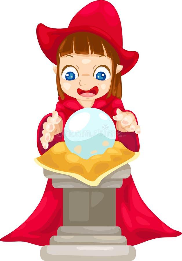 Caixa de fortuna com vetor da esfera de cristal ilustração do vetor
