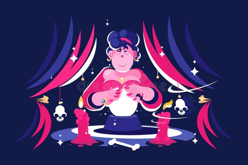 Caixa de fortuna da mulher com bola de cristal mágica ilustração stock
