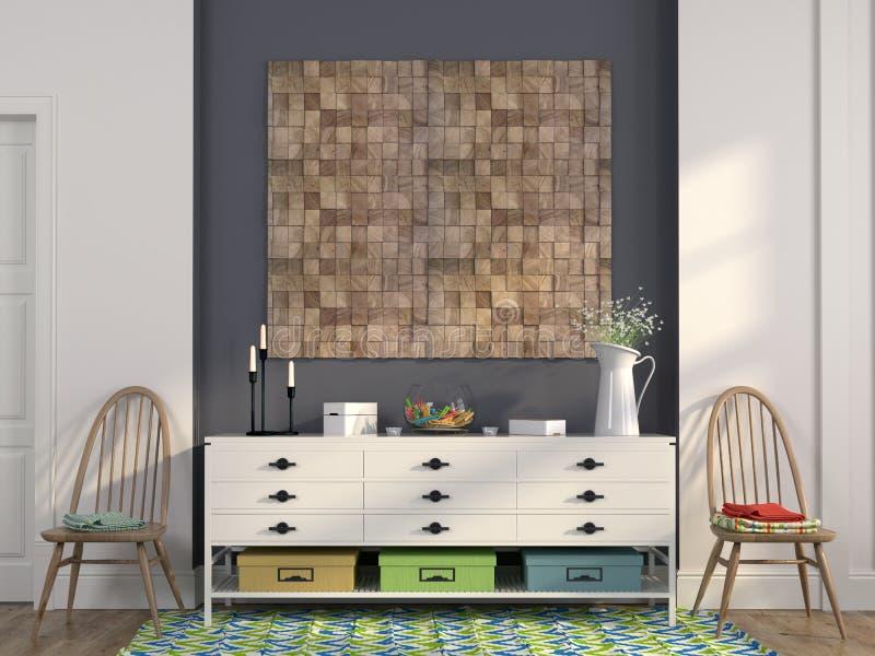 Caixa de gavetas branca à moda e de cadeiras de madeira fotografia de stock
