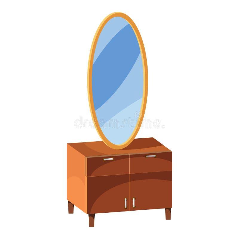 Caixa de gavetas com ícone do espelho, estilo dos desenhos animados ilustração royalty free