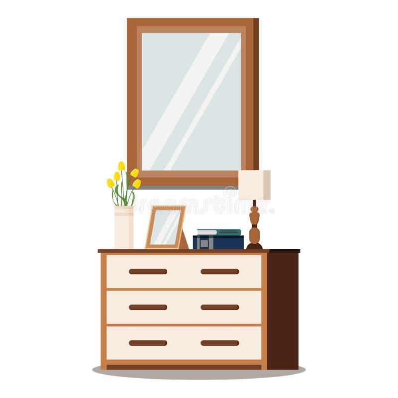 Caixa de gavetas de madeira clássica com espelho, lâmpada, vaso com tulipas, quadro da foto, livros ilustração do vetor