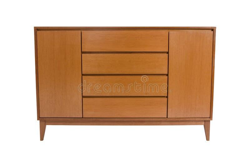 Caixa de gavetas de madeira isoladas no branco fotos de stock