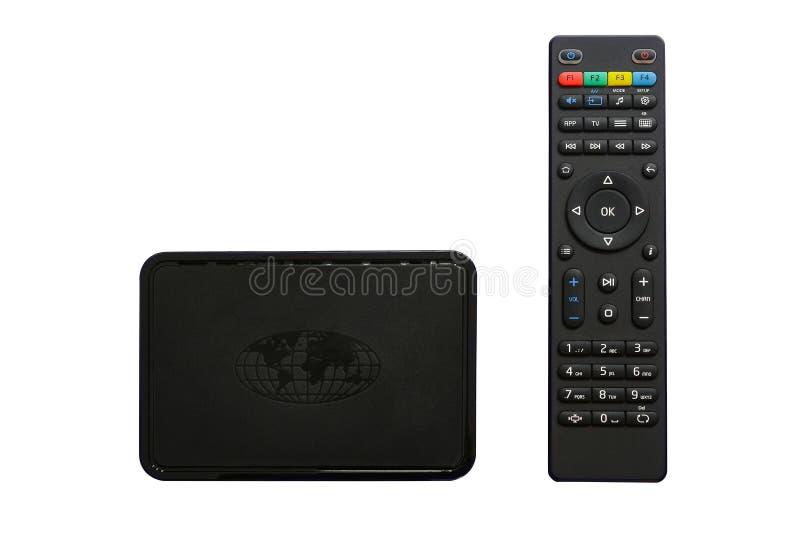 Caixa de Iptv e controlador remoto Dispositivo moderno dos multimédios para ver a televisão através do Internet, do jogador de mu imagens de stock