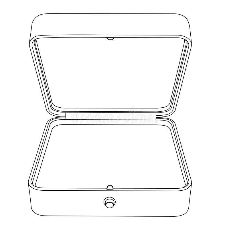 Caixa de jóia Esvazie a caixa de presente aberta Ícone do esboço ilustração stock