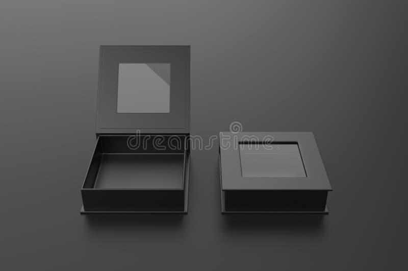 Caixa de janela dura do quadrado branco da placa para a zombaria de marcagem com ferro quente acima do molde, ilustração 3d ilustração stock