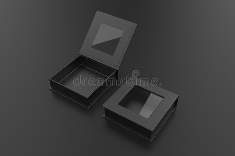 Caixa de janela dura do quadrado branco da placa para a zombaria de marcagem com ferro quente acima do molde, ilustração 3d ilustração do vetor