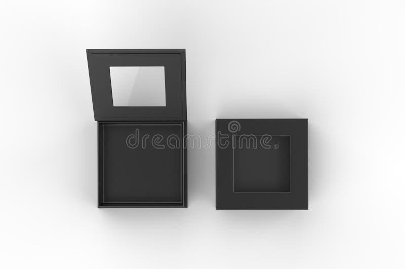 Caixa de janela dura do quadrado branco da placa para a zombaria de marcagem com ferro quente acima do molde, ilustração 3d ilustração royalty free