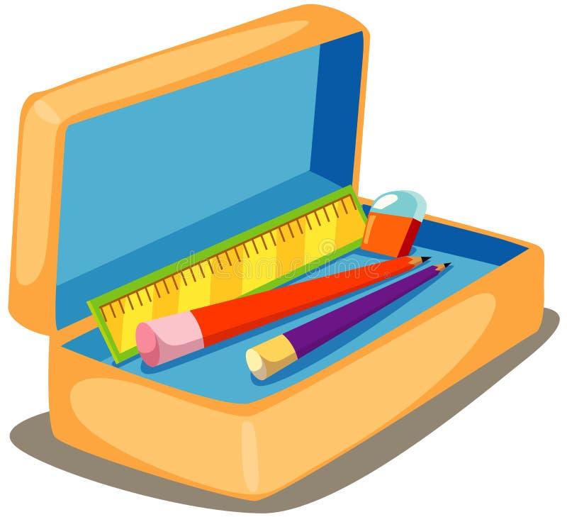 Caixa de lápis ilustração stock