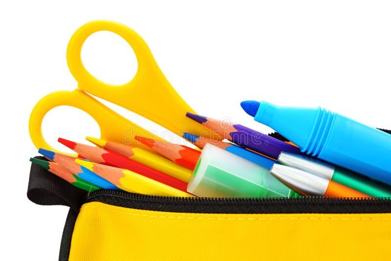 Caixa de lápis amarela imagem de stock
