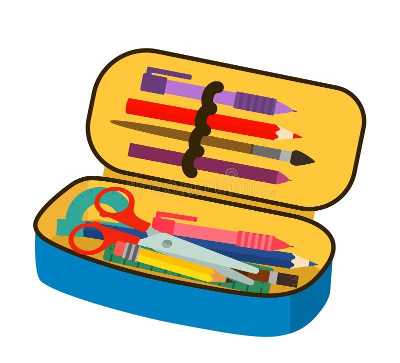 Caixa de lápis brilhante da escola com a ilustração lisa de enchimento do vetor dos artigos de papelaria da escola isolada no fun ilustração stock