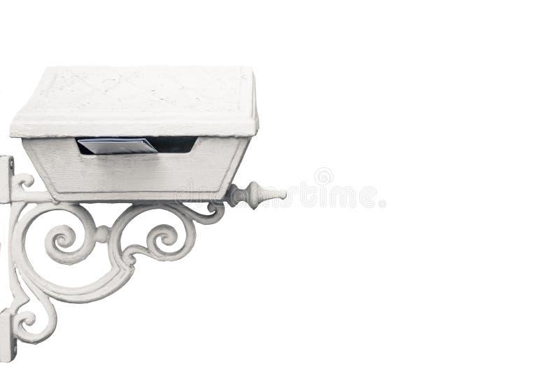 Caixa de letra branca bonita do vintage com uma colagem para fora da letra isolada no fundo branco imagens de stock