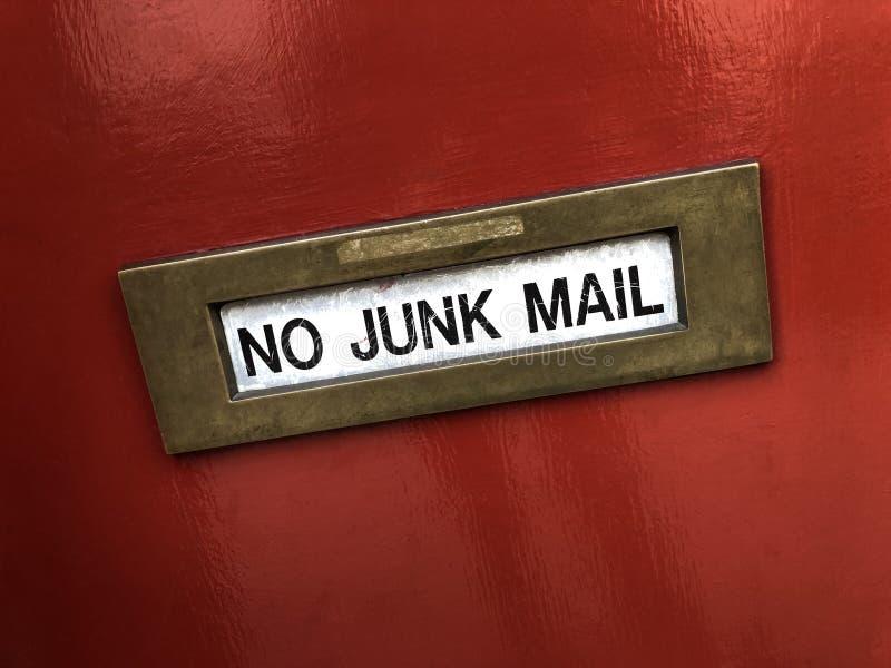 Caixa de letra - nenhum correio não solicitado imagem de stock