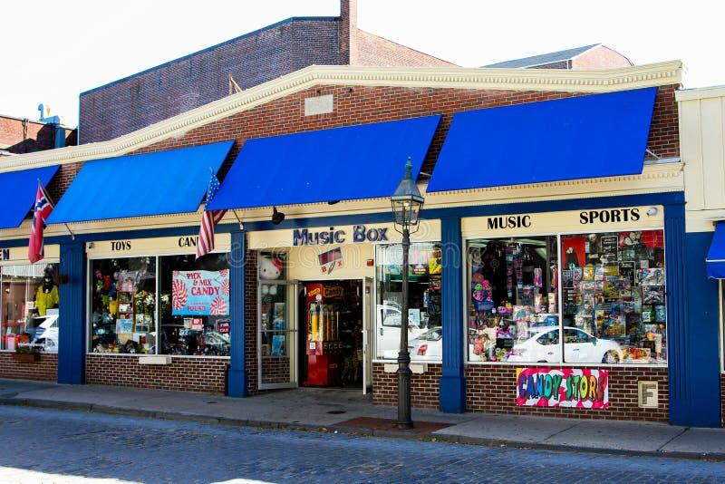 Caixa de música, rua de Tamisa, Newport fotografia de stock royalty free
