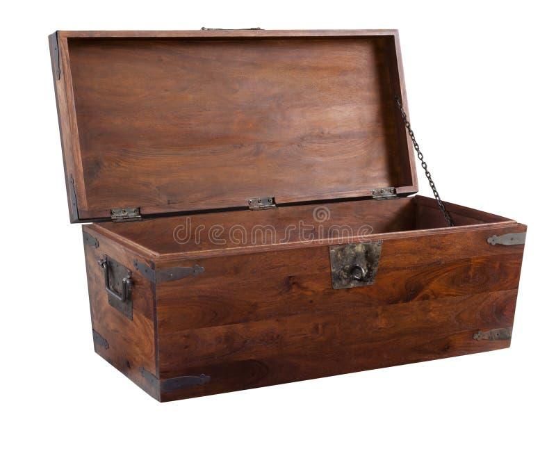 Caixa de madeira aberta imagem de stock