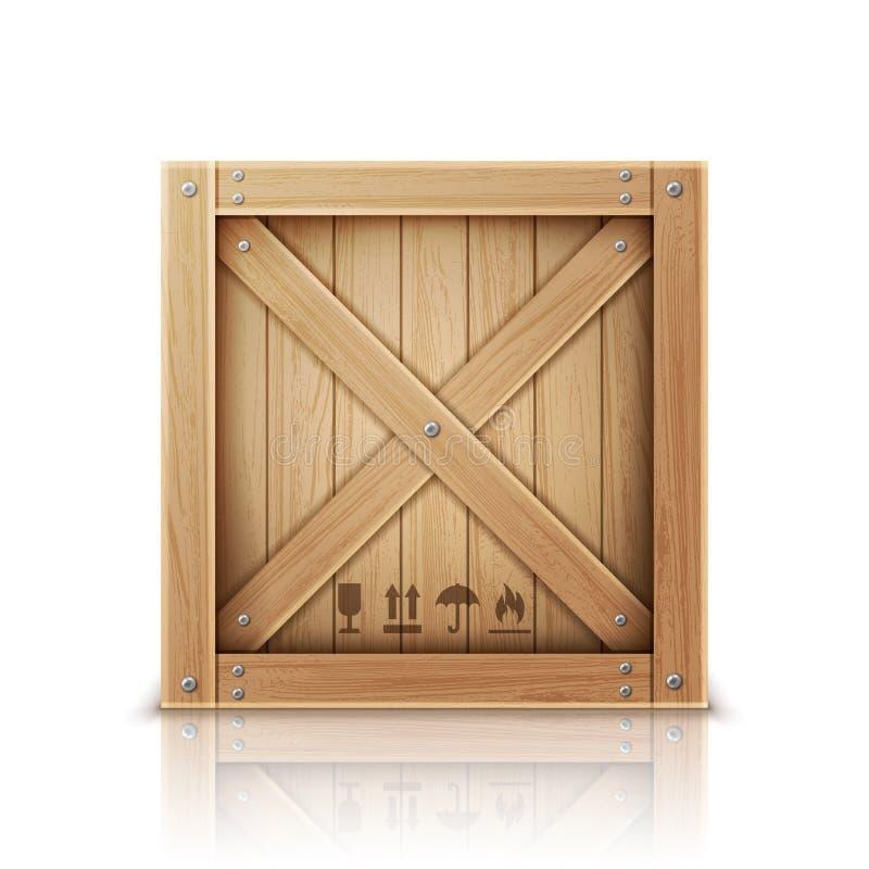 Caixa de madeira aberta e vetor realístico fechado ilustração do vetor