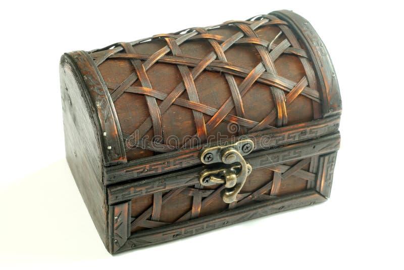 Caixa de madeira bonita, isolada em um branco imagens de stock