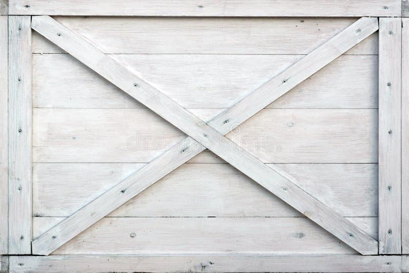 Caixa de madeira branca moderna Front Side Background imagens de stock