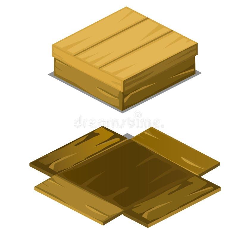A caixa de madeira caiu distante nas placas isoladas no fundo branco Ilustração do close-up dos desenhos animados do vetor ilustração stock