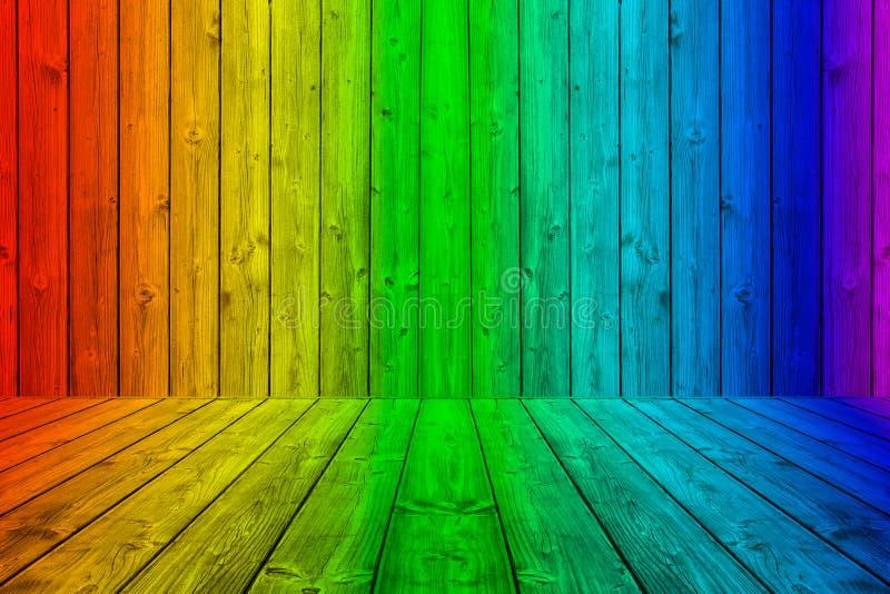 Caixa de madeira colorida do fundo das pranchas em cores do arco-íris ilustração do vetor