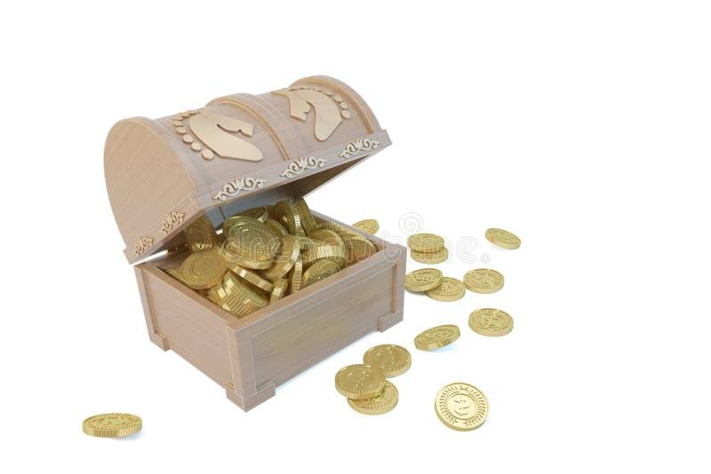 CAIXA de madeira com as moedas do base de dados e de ouro do cataclismo ilustração stock