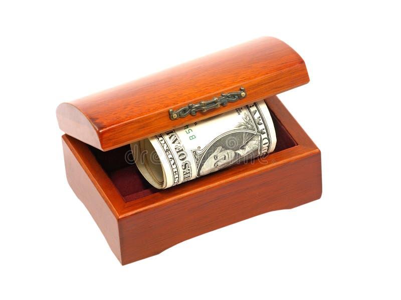 Caixa de madeira com conta de dólares. imagens de stock royalty free