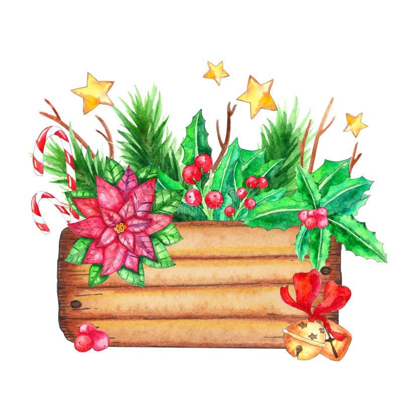 Caixa de madeira com decorações do Natal ilustração do vetor