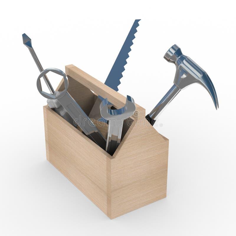 Caixa de madeira com ferramentas.